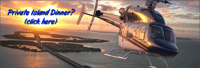 Private island helicopter charter and dinner