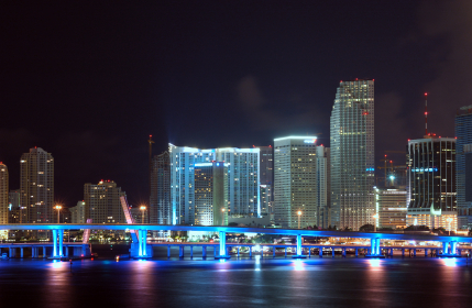 miami downtown skyline detail at night